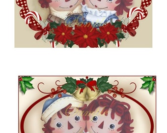 Christmas Raggedy Ann and Andy tags set of 2 Digital Download Printable Images