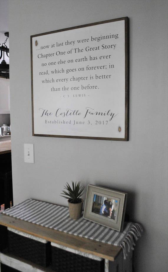 A NEW CHAPTER personalized family sign 2'X2'   C.S. Lewis quote   distressed painted wall decor   shabby chic farmhouse   framed wall art