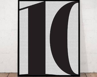 Typography Print, Number Ten Print, 10 Print, Scandinavian, Minimalist, Geometric Print,  Printable Number 10, 10, Geometric Art, Home Print