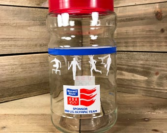 Vintage (1988) Maxwell House U.S Olympic Team Coffee Jar Container