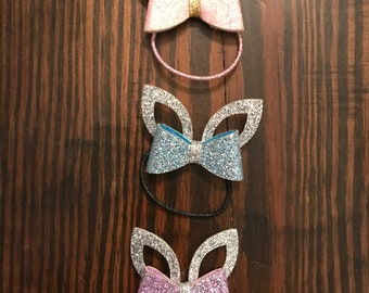 Glitter bunny clips and hair ties