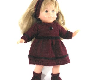 SET for doll - Burgundy and black
