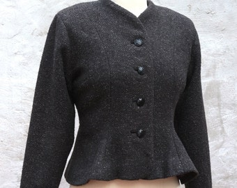 "WINTER SALE 1940s Inspired Collarless Peplum Jacket, Handmade, ""Grace"" SALE"