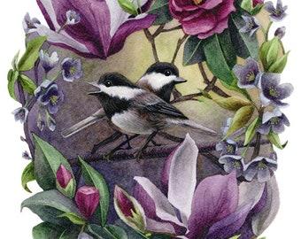 Fine Art Print of Original Watercolor Painting - Blossom Bower