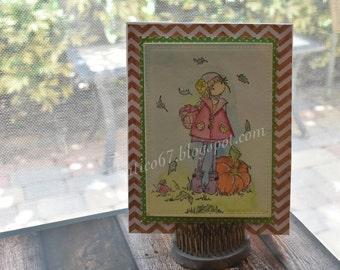 Fall Girl Chevron Background Card