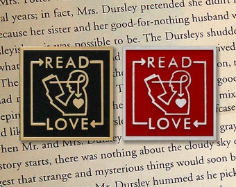 Read + Love Enamel Pin (Red or Black)