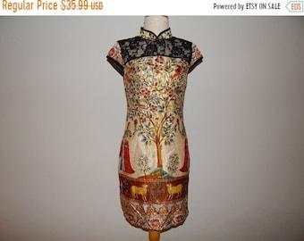 50% On May Beautiful Print Shimmer Black Lace Mandarin Oriental Chinese Cheongsam Dress Size 8