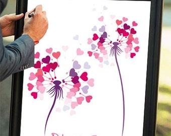 Printable Custom Wedding Guest Book Dandelion Flower Signatures Unique Guestbook Alternative Design Print poster Personal Bridal Shower Gift