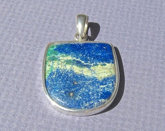 Vintage Azurite and Malachite in .925 Sterling Silver Pendant-33.5 Cts.  29mm L X 22.5mm W