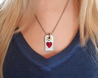 """Sterling Silver .925 Red Heart """"Hope"""" Signed Pendant Necklace"""
