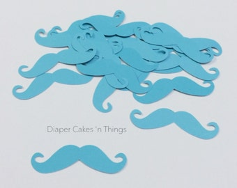 25 Mustache die cuts, punch outs, little man baby shower, birthday, embellishments, scrapbooking