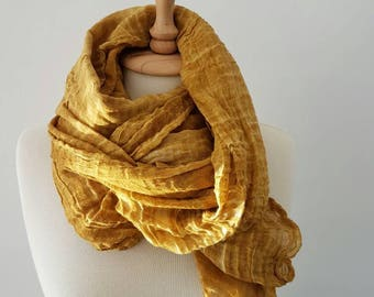 Mustard Yellow Woman Scarf - Trendy Woman Scarf - Lightweight Wrap - Woman Accessories - Cotton Scarf - Boho Style Scarf- UltraSoft Scarf