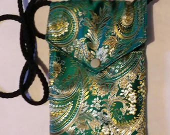 Green Silk Paisley Small / Mini Crossbody Purse