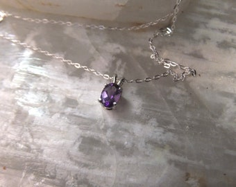 """6x4mm Amethyst & Sterling Silver 18"""" Necklace"""