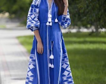 Ukrainian Vyshyvanka Dress Boho Style. Linen Maxi Embroidered Dress Vyshyvanka, Mexican Embroidered Dress. Kaftan, Abaya. Free shipping