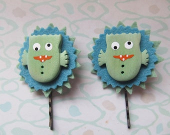 Hair Accessory, Green Monster Bobby Pins. One of a Kind, Ready to Ship