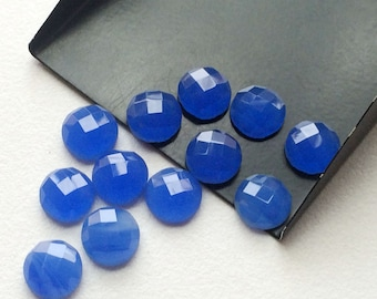 Blue Chalcedony Cabochons, Blue Rose Cut Flat Back Cabochons, Round Blue Chalcedony, 5 Pcs , 10mm, 15 pcs - KS106