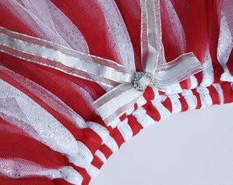 Red glitter fairy tutu skirt ~ Sz 5-8. Sparkly glitter tutu. Girls gift.