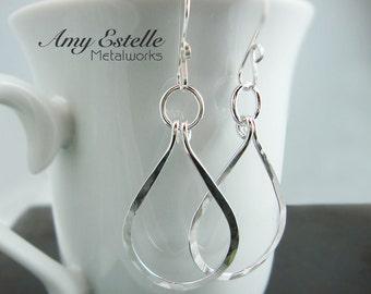 Sterling Silver Teardrop Earrings - Teardrop Earrings - Teardrop Hoops - Eco Friendly Jewelry - 925 Sterling Silver Earrings