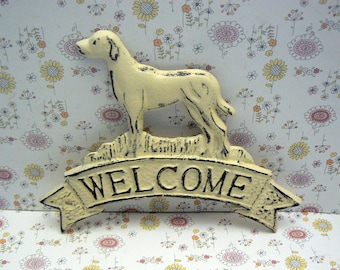 Dog Welcome Door Plaque Shabby Elegance Cream Off White Labrador Retriever Canine Vet Groomer Hunt Cabin Greeting Sign Pet Lover Gift Idea