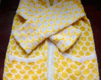 Vintage 1960s Handknit Contrasting Yellow & White Polka Dot Fuzzy Sweater with Pockets