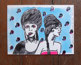 Kate and Cindy linocut letterpress print