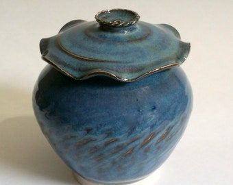 Blue Pottery Keepsake - Urn - Trinket Container - Lotus Leaf Lidded Jar - Wheel Thrown Pottery with Intricate Chattered Texturing