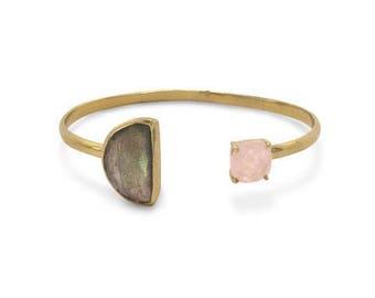 Labradorite Bracelet | Cuff Bracelet | Gold Cuff Bracelet | Rose Quartz Cuff | Crystal Bracelet | Gemstone Bracelet | Statement Bracelet