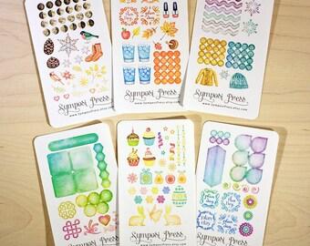 Sample Pack of Watercolor Planner Stickers (Inkwell Press, Erin Condren, Plum Paper, Fliofax, Kikki K)
