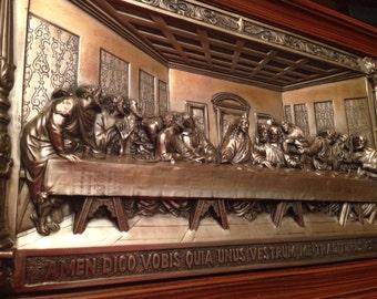 Metal Art Hi Relief The Last Supper Wall Plaque Embossed Huge Framed 29x18x2in Unique Vintage Amazing