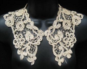Antique Handmade Miracourt Ecru Bobbin Lace Collar