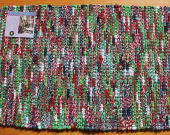Loom-woven rug from Christmas socks, USA made, cotton blend, machine washable, unique