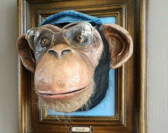 UNIQUE piece available - Trophy decorative handmade monkey head.