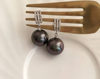 Tahitian Pearl Jewelry Set With Necklace And Earrings Black Pearl Earrings Black Pearl Necklace Black Pearl Charm Pearl diamond jewelry