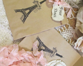 Paris French Eiffel Favor Bags Kraft Paper Party w/Ribbon & Pour Vous Tag - Set of 8 - Choose Ribbons - Birthday Baby Bridal Shower Wedding