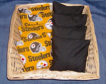 8PC Corn Hole Bags 4 Steelers Cotton Print and 4 Black Cotton will meet ACA Standards