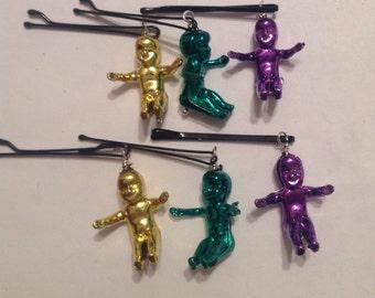 Beard Art Baubles Mardi Gras King Cake Baby Mascot In Theme Colors laissez les bon temps rouler Hipster Gift set 6