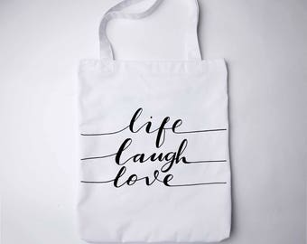 Life Laugh Love Tote Bag Shopping Tote Bag Canvas Tote Bag Printed Tote Bag Cotton Tote Bag Large Canvas Tote Library Bag Book Bag GO7210