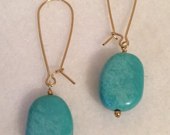 Turquoise Magnesite on 14k gold filled lidney wire.