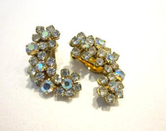 Vintage Weiss Clip Earrings Designer Signed Aurora Borealis Gold Earrings Wedding Jewelry Gift for Her Under 20