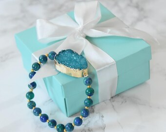 SALE - Ocean Colors Druzy Stone Stretch bracelet - Druzy Stone Bracelet - Crystal Bracelet - Reduce Stress and Anxiety - Throat Chakra -Gift
