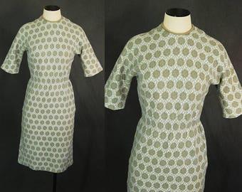 Vintage 60er Jahre Wiggle Kleid - 1960er Jahre Rose Druck Wolle Strick Kleid Pullover Kleid Wolle Jersey Kleid Sz S