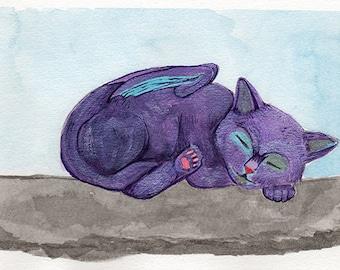 Kitten Dragon Watercolor Giclée Print