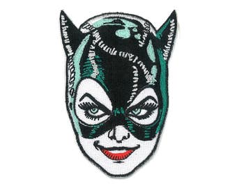 "3.5"" Cat Woman Iron-ON Patch Tim Burton 1991 Batman Returns BDSM Dominatrix catwoman Black the Dark Arkham Knight"