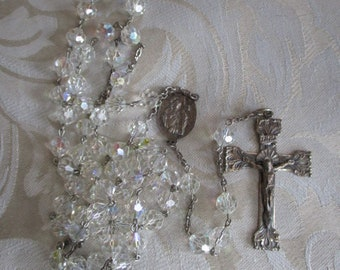 Vintage Sterling Silver & Aurora Borealis Beaded Rosary