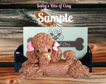 Chocolate Poodle dog with bows Business Card /Cell Phone / Post It Notes Holder OOAK Sculpture by Sally's Bits of Clay