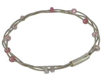 Beaded Guitar String Bangle Bracelet - Pink