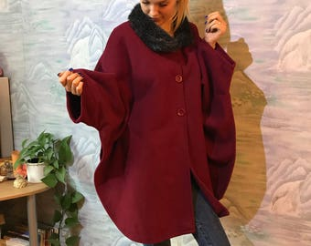 Vintage Burgundy Red Cloak Red Cape Coat Austrian Cloak Sleeveless Coat Medieval Coat Medium Size Cape Cloak Folk Cape Coat
