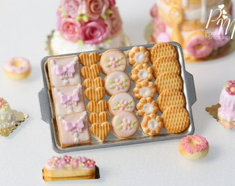 MTO-Pink Iced Butter Cookies and Plain Butter Cookies on Metal Baking Tray - 12th Scale Miniature Food (Pink Collection 2016)