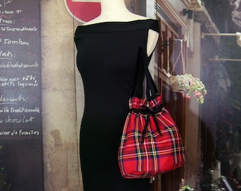 Scottish red handle purse handbag in Velvet black retro pin-up large